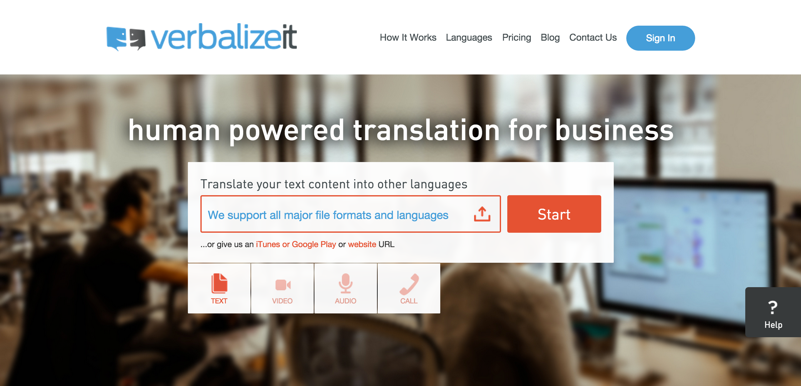 VerbalizeIt English Website